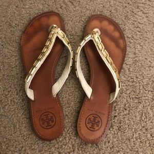 Tory Burch White & Gold Sandals